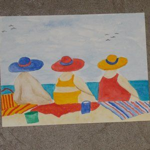 "New, Ladies on the Beach watercolor painting 6""x8"""